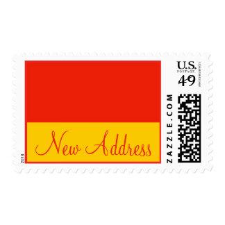 New Address orange yellow Postage Stamp