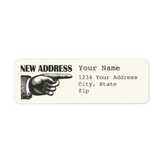 New Address Pointing Hand Label