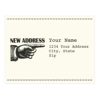 New Address Pointing Hand Postcard