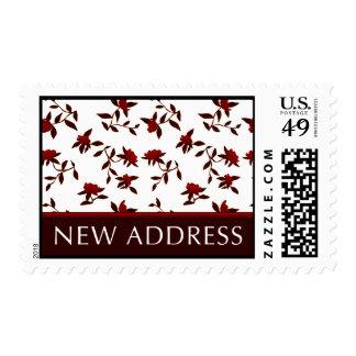 new address postage : vintage flowers