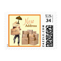 New Address Postcard Postage Stamps