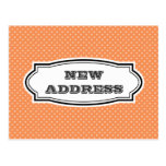 NEW address postcard with orange polka dots