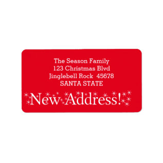 New Address Snowflake Christmas Label at Zazzle