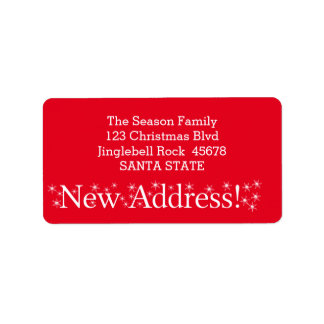 New Address Snowflake Christmas Label