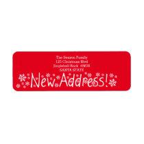 New Address Snowflake Christmas Label