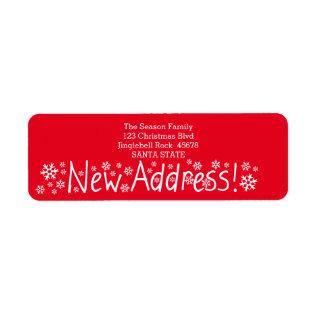 New Address Snowflake Christmas Label at Zazzle