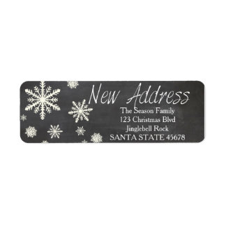 New Address snowflake Holiday Address Label