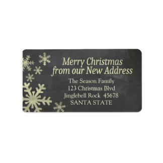 New Address snowflake holiday Label