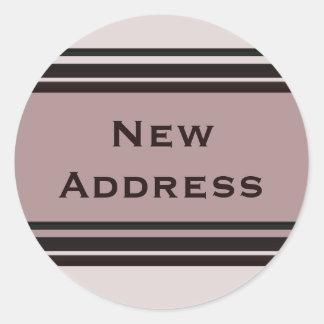 New Address Round Sticker