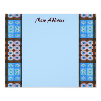 New Address Turquoise Brown Tile Pattern Flyer