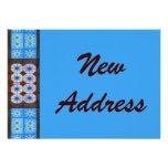 New Address Turquoise Brown Tile Pattern Custom Invites