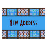New Address Turquoise Brown Tile Pattern Invitation