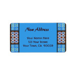 New Address Turquoise Brown Tile Pattern Custom Address Labels