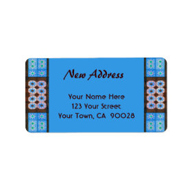 New Address Turquoise Brown Tile Pattern Custom Address Labels