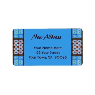 New Address Turquoise Brown Tile Pattern Label
