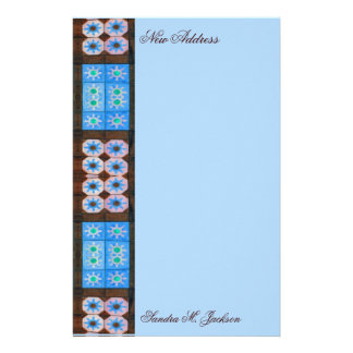 New Address Turquoise Brown Tile Pattern Stationery