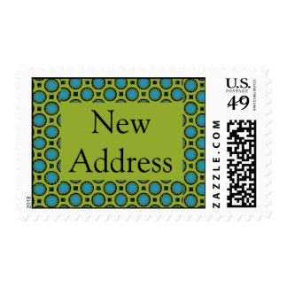New Address Turquoise Green Postage Stamps
