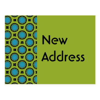 New Address Turquoise Green Post Card