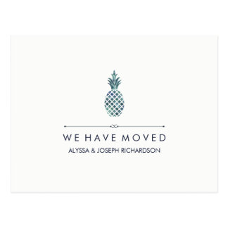 New Address with Blue Watercolor Look Pineapple Postcard