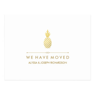 New Address with Elegant Gold Pineapple Postcard