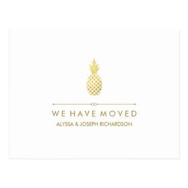 Professional Business New Address with Elegant Gold Pineapple Postcard