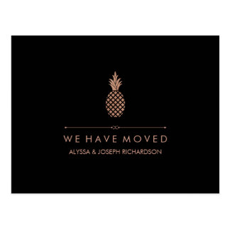 New Address with Faux Rose Gold Look Pineapple Postcard