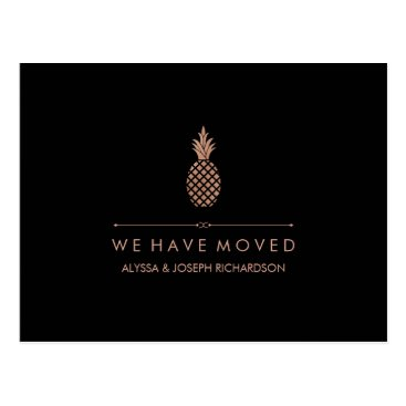 Professional Business New Address with Faux Rose Gold Look Pineapple Postcard