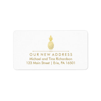 New Address with Gold Pineapple Label