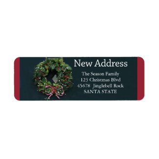 New Address x-mas wreath Holiday Label