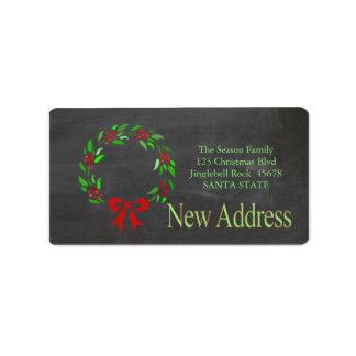New Address x-mas wreath Holiday Label Address Label