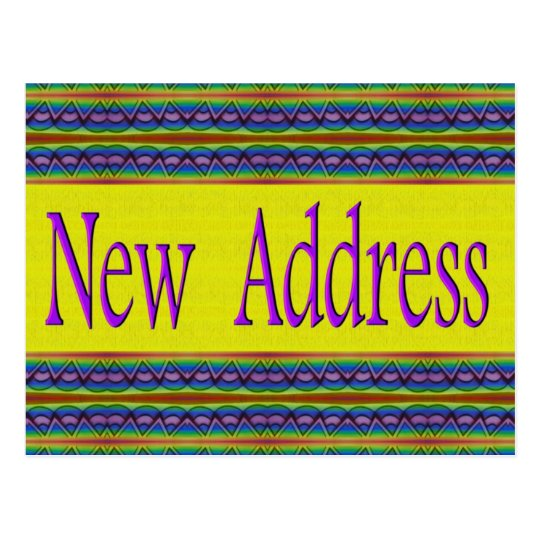 New Address yellow and turquoise Postcard