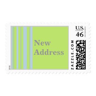 New Address yellow grey blue stripes Stamp