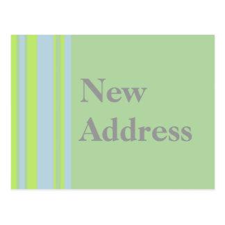 New Address yellow grey blue stripes Postcard
