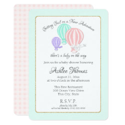 New Adventure Hot Air Balloons Baby Shower Card
