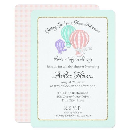 New Adventure Hot Air Balloons Baby Shower Invitation Zazzle