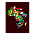 New African Country Flags Flag Map of Africa Postcard