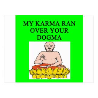 new age buddhist karma joke postcard