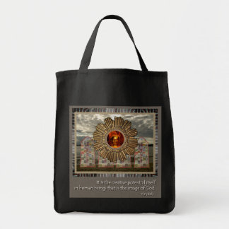 New Age photo collage with inspirational quote Canvas Bags