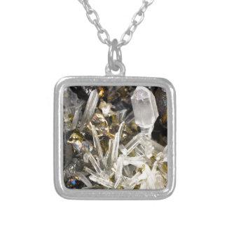 New Age Spiritual Crystal Rock Gemology Square Pendant Necklace