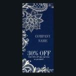 "New Age Yoga navy blue henna bohemian lace Rack Card<br><div class=""desc"">New Age Yoga navy blue henna bohemian lace business cards and promotional flyers</div>"