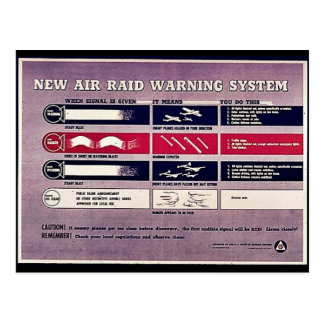 New Air Raid Warning System Postcards