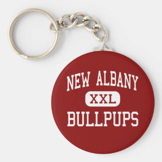 New Albany - Bullpups - Middle - New Albany Basic Round Button Keychain