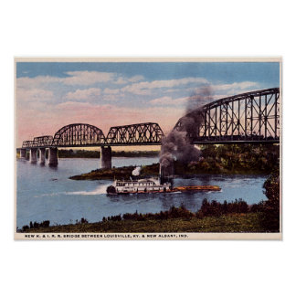 New Albany Indiana Ohio River Railroad Bridge Poster