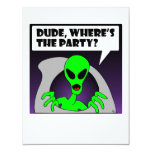 "new alien party 4.25"" x 5.5"" invitation card"