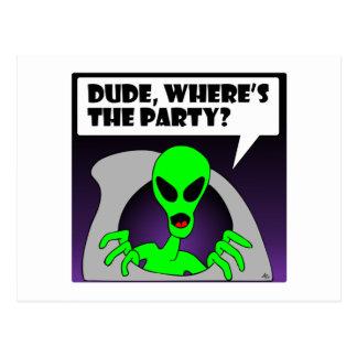 new alien party postcard