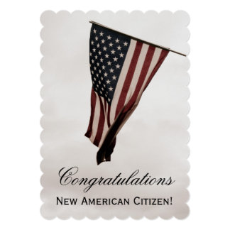 New American Citizen+U.S. Flag-Celebration Party Card