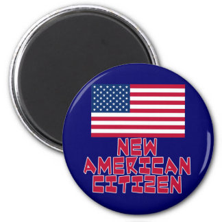 New American Citizen with American Flag 2 Inch Round Magnet