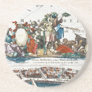 NEW AMSTERDAM, 1673 SANDSTONE COASTER