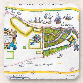 New Amsterdam Map, 1661 Beverage Coaster