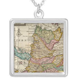New and correct map of Scotland and the Isles Square Pendant Necklace